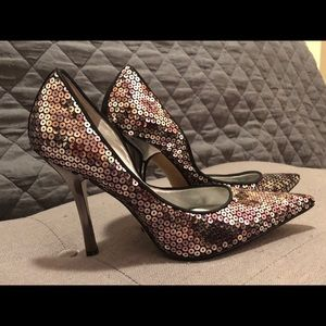 Guess by Marciano Silver Sequined Heels